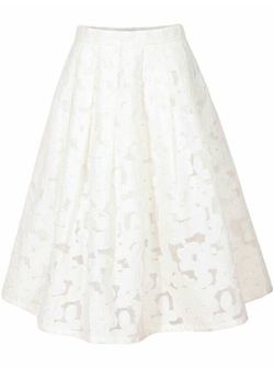 Romwe - Lace Flare White Skirt