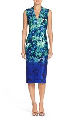 Vince Camuto - Floral Print Scuba Midi Dress