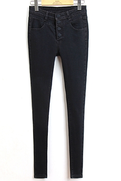 Romwe - With Buttons Slim Denim Pant