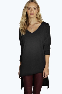 Boohoo Basics - Liz Oversized V Neck T-Shirt