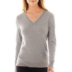 Worthington - Long Sleeve V-Neck Sweater