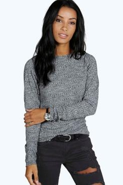 Boohoo  - Hollie Rib Knit Long Sleeve Top