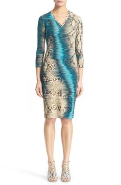 Roberto Cavalli - Snake Print Punto Stoffa Dress