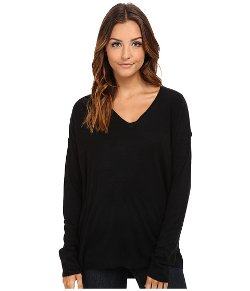 BCBGeneration  - Faux Leather V-Neck Pullover Sweater