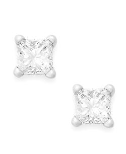 Diamond Earrings,  - 10k White Gold Princess-Cut Diamond Stud Earrings