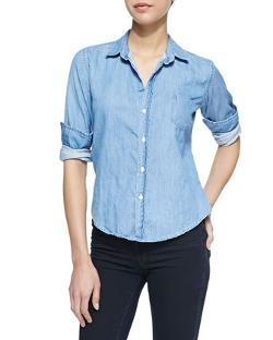 Frank & Eileen - Barry Denim 1970s Button-Down Blouse