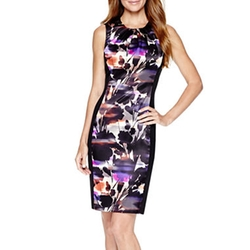 London Style Collection - Sleeveless Floral Sheath Dress