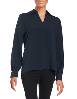 Ellen Tracy - Collared Hi-Lo Blouse