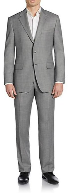 Hickey Freeman  - Regular-Fit Sharkskin Worsted Wool Suit