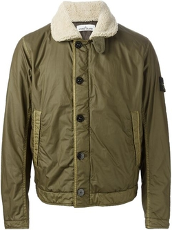 Stone Island - Faux Fur Collar Bomber Jacket