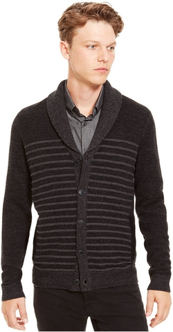 Kenneth Cole Reaction - Shawl-Collar Striped Cardigan