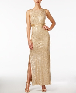 Calvin Klein - Sequined Sleeveless Cowl-Back Gown