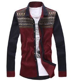 ArtMine - Corduroy Cotton Long Sleeve Knitted Aztec Pattern Dress Shirt