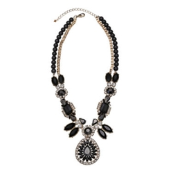 Mixit - Black Stone & Crystal Statement Y Necklace