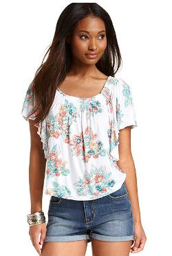 American Rag - Floral-Print Flutter-Sleeve Top