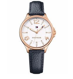 Tommy Hilfiger - Table Black Leather Strap Watch