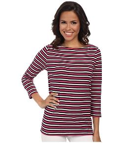 Jones New York  - Stripe 3/4 Sleeve Boat Neck Shirt