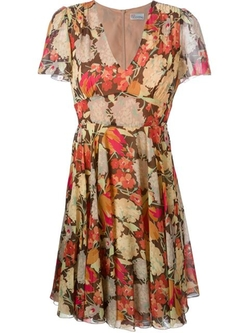 Red Valentino - Floral Print Flared Dress