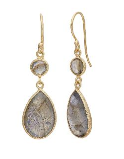 Lord & Taylor  - Gold And Chalcedony Double Drop Earrings