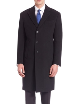 Armani Collezioni  - Long Sleeve Wool-Cashmere Coat
