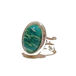The Black Cat  - Classic Russian Amazonite Gemstone Ring
