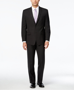 Marc New York by Andrew Marc - Classic-Fit Black Plaid Suit