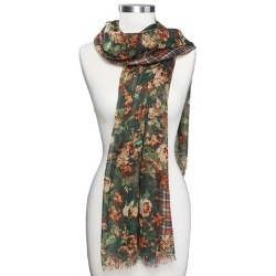 Target - Plaid And Floral Print Scarf