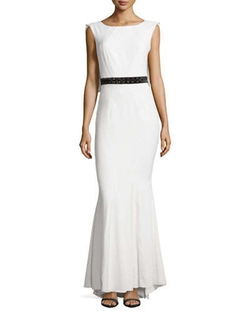 Zac Zac Posen - Beaded-Waist Open-Back Gown