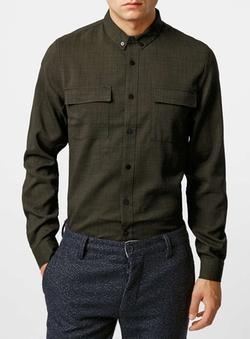 Topman - Khaki Long Sleeve Crepe Military Smart Shirt
