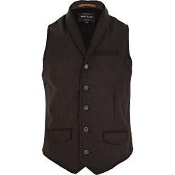 River Island - Brown Smart Shawl Neck Vest