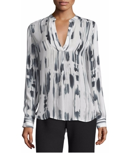 Vince - Cascade-Print Split-Neck Silk Top