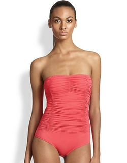 Carmen Marc Valvo - One-Piece Ruched Bandeau Swimsuit