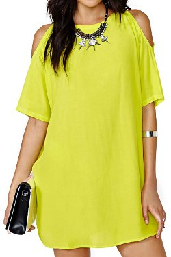 Romwe - Off-shoulder Yellow Shift Dress