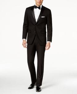 Perry Ellis - Portfolio Solid Black Slim-Fit Tuxedo Suit
