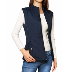 Allegra K - Stand Collar Zippered Quilted Padded Vest