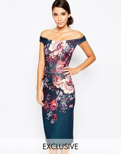 True Violet - Ombre Floral Pencil Dress