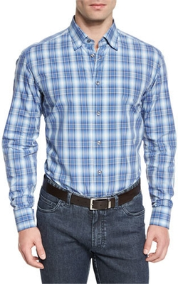 Brioni - Ombre Plaid Long-Sleeve Sport Shirt