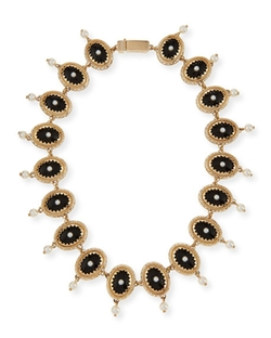 Givenchy  - Oval Crystal and Pearly Necklace