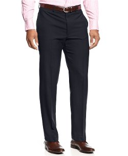 Lauren Ralph Lauren  - Solid Wool-Blend Flat-Front Dress Pants