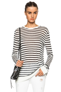 T by Alexander Wang  - Stripe Linen-Blend Tee