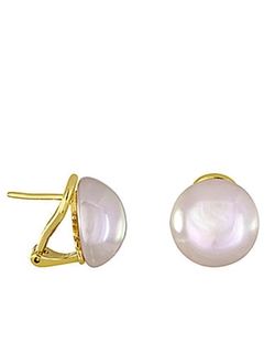Majorica  - Goldtone And Pearl Stud Earrings