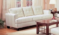 Coaster Home Furnishings - Cream Leather Sofa Set