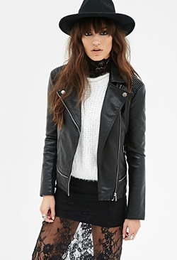Forever21 - Faux Leather Bomber Jacket