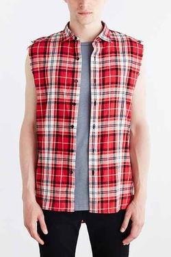 Kill City  - Sleeveless Flannel Button-Down Shirt