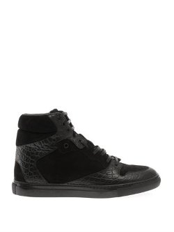 Balenciaga - Leather and Suede High-Top Trainers