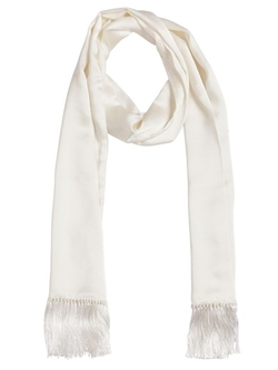 Saint Laurent - Fringed Silk Satin Long Scarf