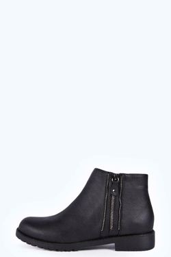 Boohoo - Betsy Zip Trim Ankle Boots