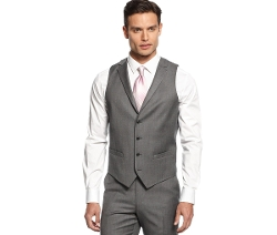 Alfani Red - Mid-Grey Stepweave Slim-Fit Vest