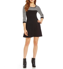 Sequin Hearts  - Striped Yoke Fit-and-Flare Sweater Dress