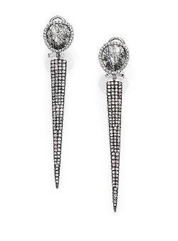 Meira T  - Rutilated Quartz Diamond Spike Drop Earrings